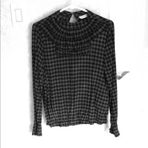 Zara ruffle detail plaid gray and black blouse